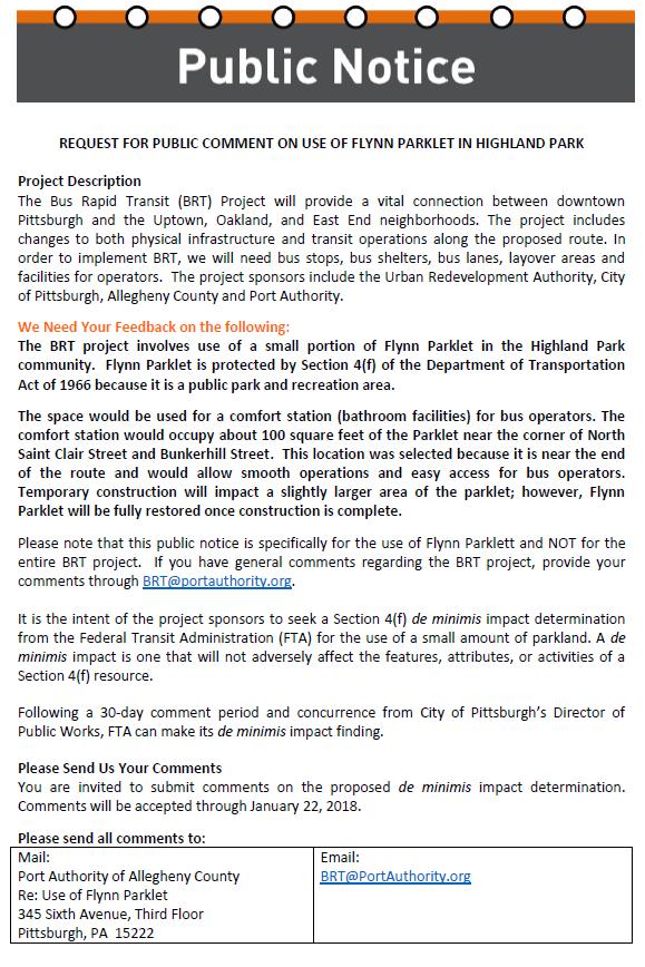 PAAC Flynn Parklet Comfort Station Public Comment Notice
