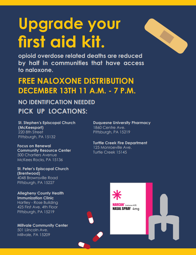 FLYER: Free Naloxone Distribution December 13th 11am to 7pm. Upgrade your first aid kit. Opiod overdoes related deaths are reduced by half in communities that have access to naloxone. No identification needed. multiple pick up locations, closest location to Highland Park is Millvale Community Center, 501 Lincoln Ave, Millvale, PA 15209